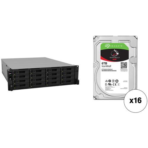 Synology RackStation RS4017xs+ 96TB 16-Bay NAS Enclosure Kit with Seagate NAS Drives (16 x 6TB)