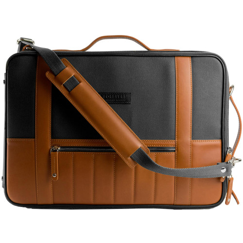 T. Forevers 48HR Switch Briefcase/Backpack (Rum Leather/Black Canvas)
