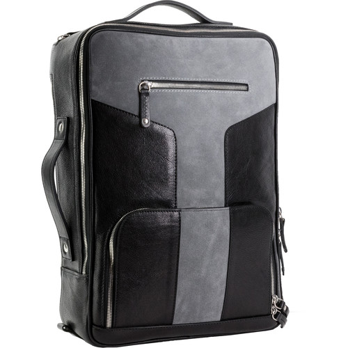 T. Forevers Tefors Briefcase/Backpack (Black and Graphite Suede)