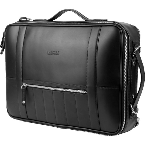 T. Forevers 48HR Switch Briefcase/Backpack (Black Leather)