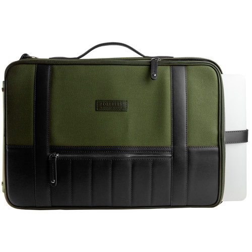 T. Forevers 48HR Switch Briefcase/Backpack (Black Leather/Olive Canvas)