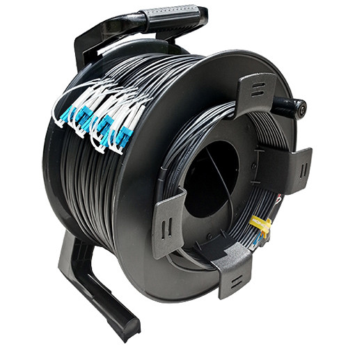 Tactical Fiber Systems TFS DuraTAC Stainless Steel Armored Tactical Fiber Cable Reel Terminated with 12 LC Connectors (Single Mode, 250')