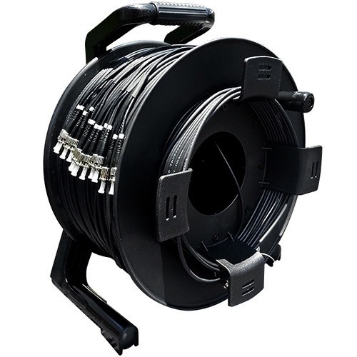 Tactical Fiber Systems TFS DuraTAC Stainless Steel Armored Tactical Fiber Cable Reel Terminated with 12 ST Connectors (Single-Mode, 250')