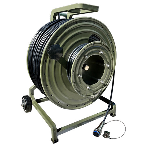 Tactical Fiber Systems Hybrid Shielded Tactical Fiber Cable on Military Reel Terminated with Stainless Steel Magnum Connectors (Two Fibers, 250')
