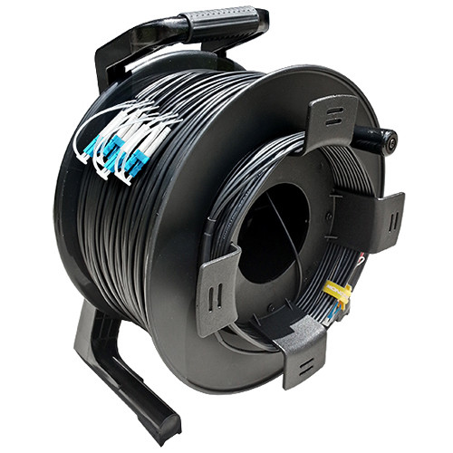 Tactical Fiber Systems TFS DuraTAC Stainless Steel Armored Tactical Fiber Cable Reel Terminated with 8 LC Connectors (Single Mode, 1500')