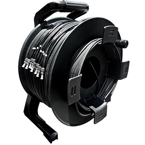 Tactical Fiber Systems TFS DuraTAC Stainless Steel Armored Tactical Fiber Cable Reel Terminated with 8 ST Connectors (Single-Mode, 1500')