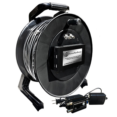 Tactical Fiber Systems CamLink Fiber Transmission System Cable Reel with Built-In 3G-HD/SD-SDI Transmitter & Receiver (ST Connector, 1 Fiber, Single-Mode, 500')