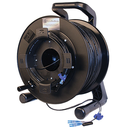 Tactical Fiber Systems DuraTAC Armored Single Mode Tactical Fiber Cable & Reel with 4 LC Connectors (1500 ft)