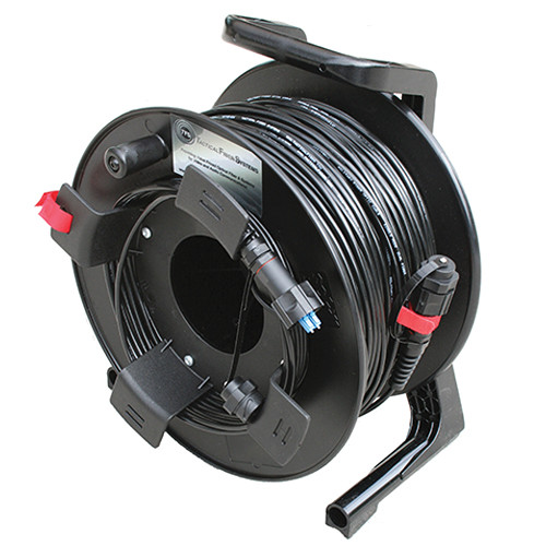 Tactical Fiber Systems DuraTAC Armored Cable & Reel with BullsEye Connectors (2-Fibers, Single Mode, 750 ft)