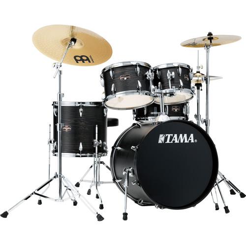 "TAMA Imperialstar 5-Piece Complete Kit (20""BD) with Meinl HCS Cymbals (Black Oak Wrap)"