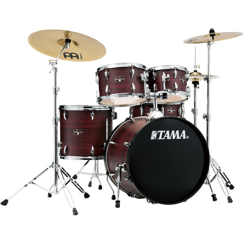 "TAMA Imperialstar 5-Piece Complete Kit (20""BD) with Meinl HCS Cymbals (Burgundy Walnut Wrap)"