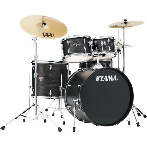 "TAMA Imperialstar 5-Piece Complete Kit (22""BD) with Meinl HCS Cymbals (Black Oak Wrap)"