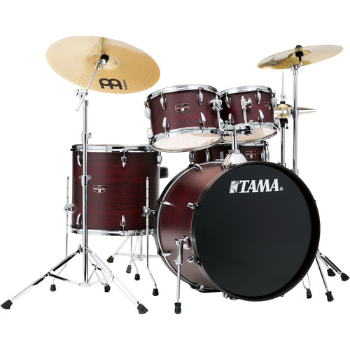 "TAMA Imperialstar 5-Piece Complete Kit (22""BD) with Meinl HCS Cymbals (Burgundy Walnut Wrap)"