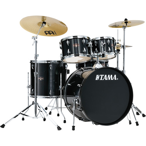"TAMA Imperialstar 5-Piece Complete Kit (22""BD) with Meinl HCS Cymbals (Hairline Black)"