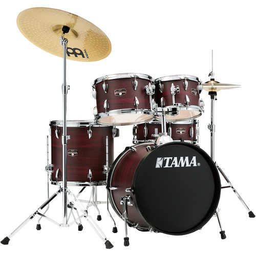 "TAMA Imperialstar 5-Piece Complete Kit (18""BD) with Meinl HCS Cymbals (Burgundy Walnut Wrap)"