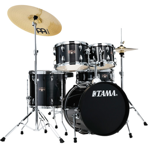 """TAMA Imperialstar 5-Piece Complete Kit (18""""BD) with Meinl HCS Cymbals (Hairline Black)"""