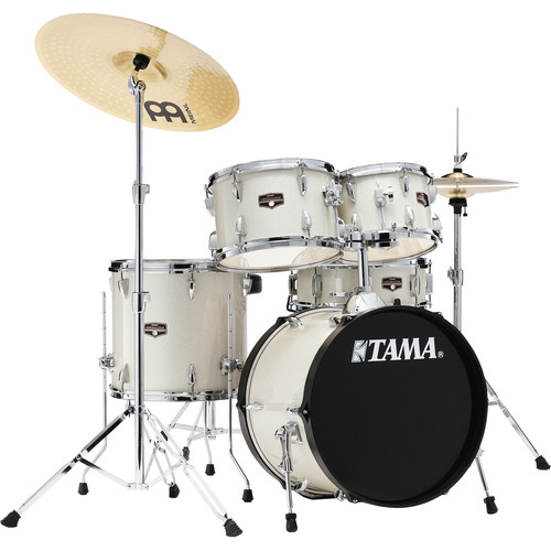 """TAMA Imperialstar 5-Piece Complete Kit (18""""BD) with Meinl HCS Cymbals (Vintage White Sparkle)"""