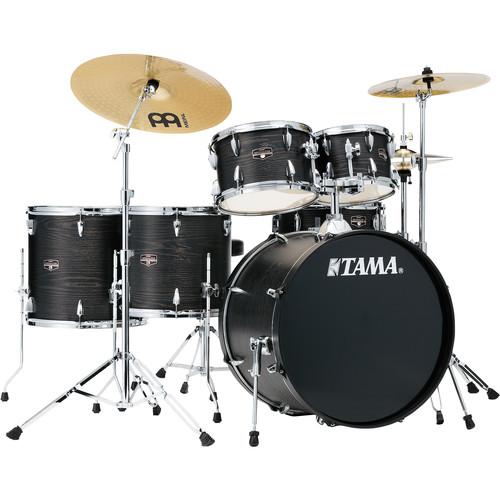 "TAMA Imperialstar 6-Piece Complete Kit (22""BD) with Meinl HCS Cymbals (Black Oak Wrap)"