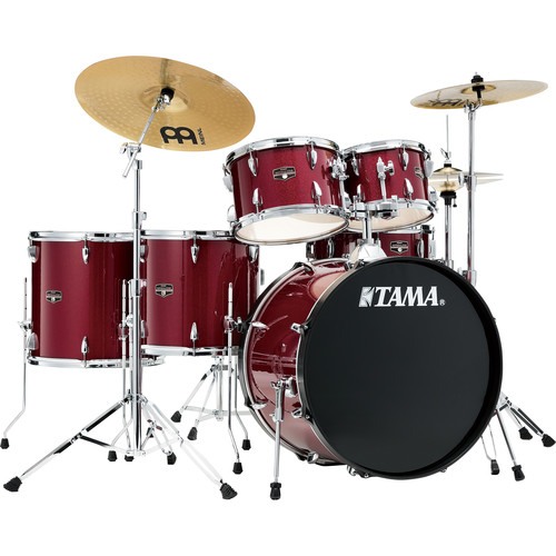 "TAMA Imperialstar 6-Piece Complete Kit (22""BD) with Meinl HCS Cymbals (Candy Apple Mist)"