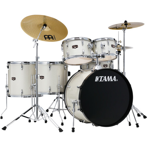 """TAMA Imperialstar 6-Piece Complete Kit (22""""BD) with Meinl HCS Cymbals (Vintage White Sparkle)"""