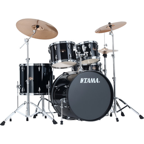 "TAMA IP52KCBK Imperialstar 5-Piece Drum Set with Cymbals (22"" Bass Drum, Black)"