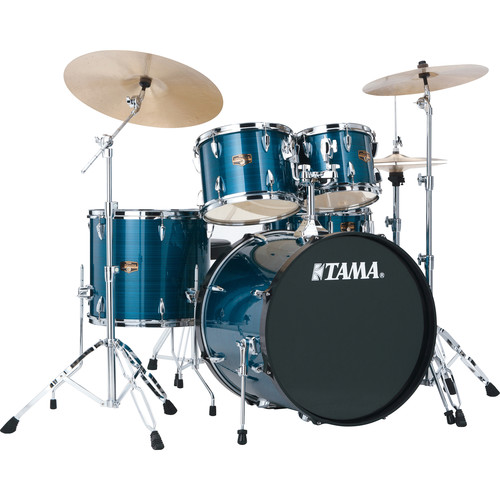 "TAMA IP52KCHLB Imperialstar 5-Piece Drum Set with Cymbals (22"" Bass Drum, Hairline Blue)"