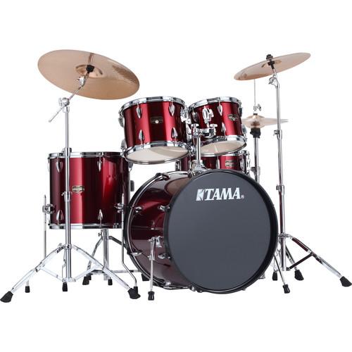 "TAMA IP52KCVTR Imperialstar 5-Piece Drum Set with Cymbals (22"" Bass Drum, Vintage Red)"