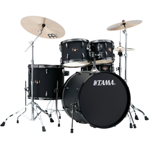 "TAMA IP52NBCBOB Imperialstar 5-Piece Drum Set with Cymbals (22"" Bass Drum, Blacked Out Black with Black Nickel Hardware)"