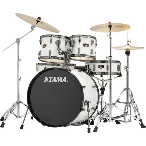 "TAMA IP52NBCSGW Imperialstar 5-Piece Drum Set with Cymbals (22"" Bass Drum, Sugar White with Black Nickel Hardware)"