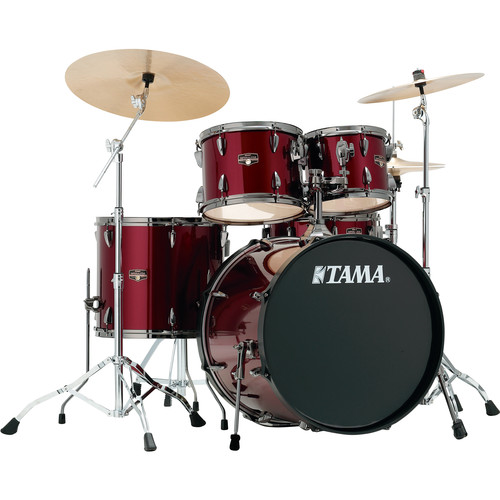 "TAMA IP52NBCVTR Imperialstar 5-Piece Drum Set with Cymbals (22"" Bass Drum, Vintage Red with Black Nickel Hardware)"
