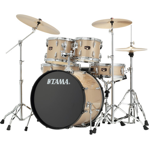 "TAMA IP52CCHM Imperialstar 5-Piece Drum Set with Cymbals (22"" Bass Drum, Champagne Mist with Chrome Hardware)"