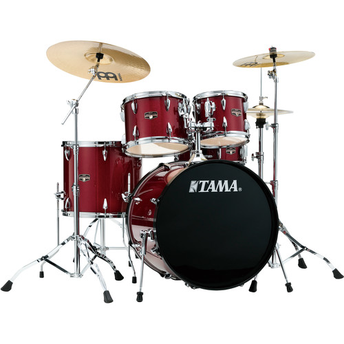 """TAMA IP52CCPM Imperialstar 5-Piece Drum Set with Cymbals (22"""" Bass Drum, Candy Apple Mist with Chrome Hardware)"""