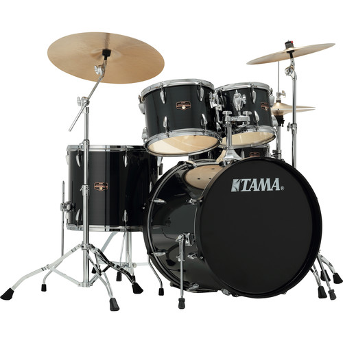 """TAMA IP52CHBK Imperialstar 5-Piece Drum Set with Cymbals (22"""" Bass Drum, Hairline Black with Chrome Hardware)"""