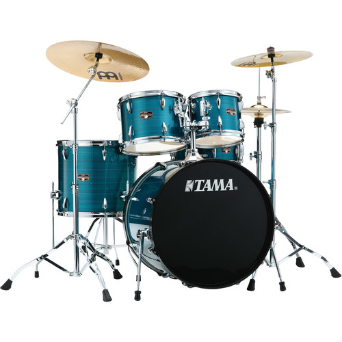 "TAMA IP52CHLB Imperialstar 5-Piece Drum Set with Cymbals (22"" Bass Drum, Hairline Blue)"