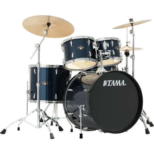 "TAMA IP52CMNB Imperialstar 5-Piece Drum Set with Cymbals (22"" Bass Drum, Midnight Blue with Chrome Hardware)"