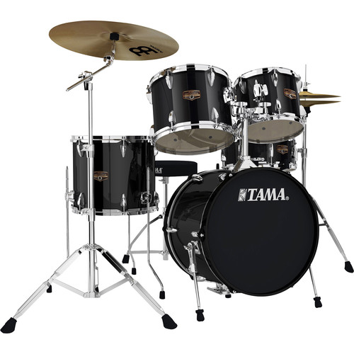 "TAMA IP58CBK Imperialstar 5-Piece Drum Set with Cymbals (18"" Bass Drum, Black)"