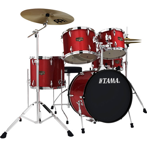 "TAMA IP58CCPM Imperialstar 5-Piece Drum Set with Cymbals (18"" Bass Drum, Candy Apple Mist)"