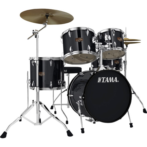 "TAMA IP58NCHBK Imperialstar 5-Piece Drum Set with Cymbals (18"" Bass Drum, Hairline Black)"