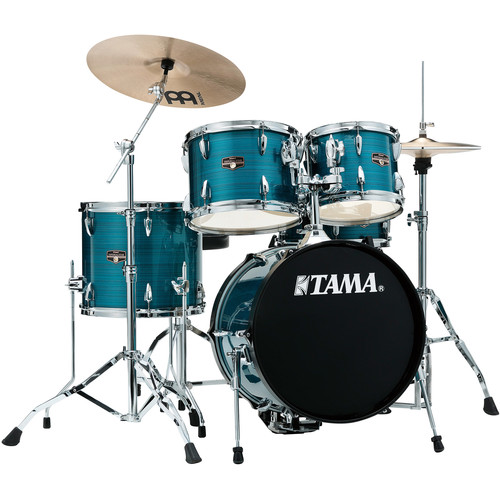 "TAMA IP58NCHLB Imperialstar 5-Piece Drum Set with Cymbals (18"" Bass Drum, Hairline Blue)"