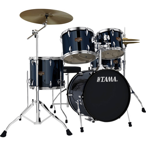 "TAMA IP58NCMNB Imperialstar 5-Piece Drum Set with Cymbals (18"" Bass Drum, Midnight Blue)"