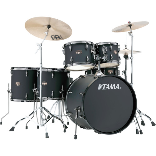 "TAMA IP62NBCBOB Imperialstar 6-Piece Drum Set with Cymbals (22"" Bass Drum, Blacked Out Black with Black Nickel Hardware)"