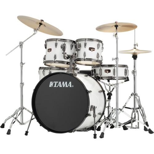 "TAMA IP62NBCSGW Imperialstar 6-Piece Drum Set with Cymbals (22"" Bass Drum, Sugar White with Black Nickel Hardware)"