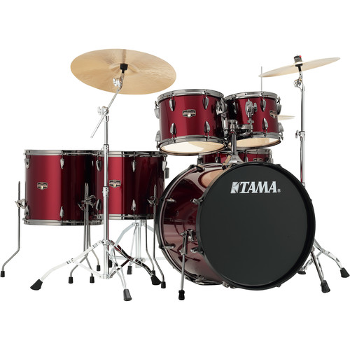 """TAMA IP62NBCVTR Imperialstar 6-Piece Drum Set with Cymbals (22"""" Bass Drum, Vintage Red with Black Nickel Hardware)"""