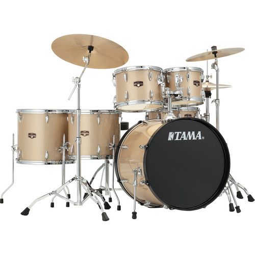 """TAMA IP62NCCHM Imperialstar 6-Piece Drum Set with Cymbals (22"""" Bass Drum, Champagne Mist with Chrome Hardware)"""