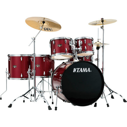 """TAMA IP62NCCPM Imperialstar 6-Piece Drum Set with Cymbals (22"""" Bass Drum, Candy Apple Mist with Chrome Hardware)"""