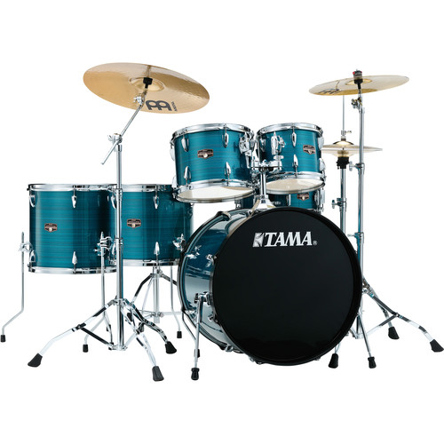 "TAMA IP62NCHLB Imperialstar 5-Piece Drum Set with Cymbals (22"" Bass Drum, Hairline Blue)"