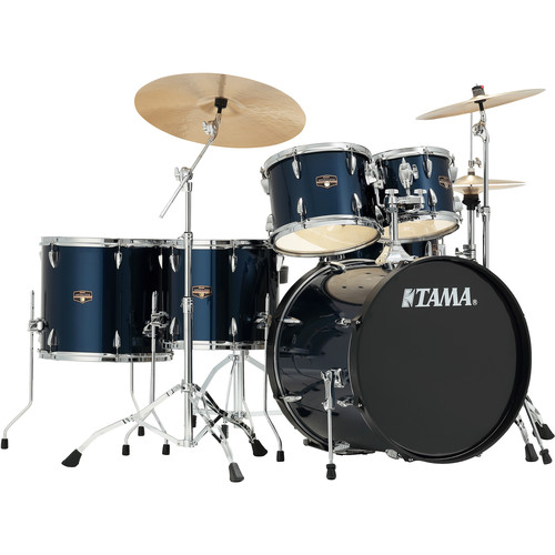 "TAMA IP62NCMNB Imperialstar 5-Piece Drum Set with Cymbals (22"" Bass Drum, Midnight Blue)"
