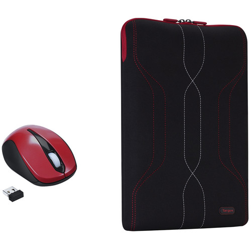 "Targus BUS0300 16"" Pulse Sleeve with Wireless Optical Laptop Mouse (Red)"