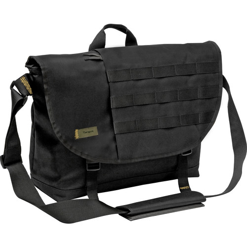 "Targus 16"" Military Messenger Laptop Bag (Black / Yellow Accents)"