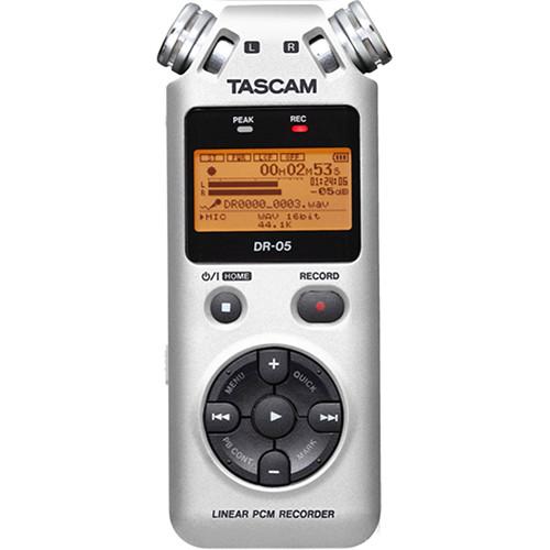 Tascam DR-05 Digital Audio Recorder Kit with Shotgun Microphone (Silver)